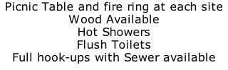 Picnic Table and fire ring at each site Wood Available Hot Showers Flush Toilets Full hook-ups with Sewer available